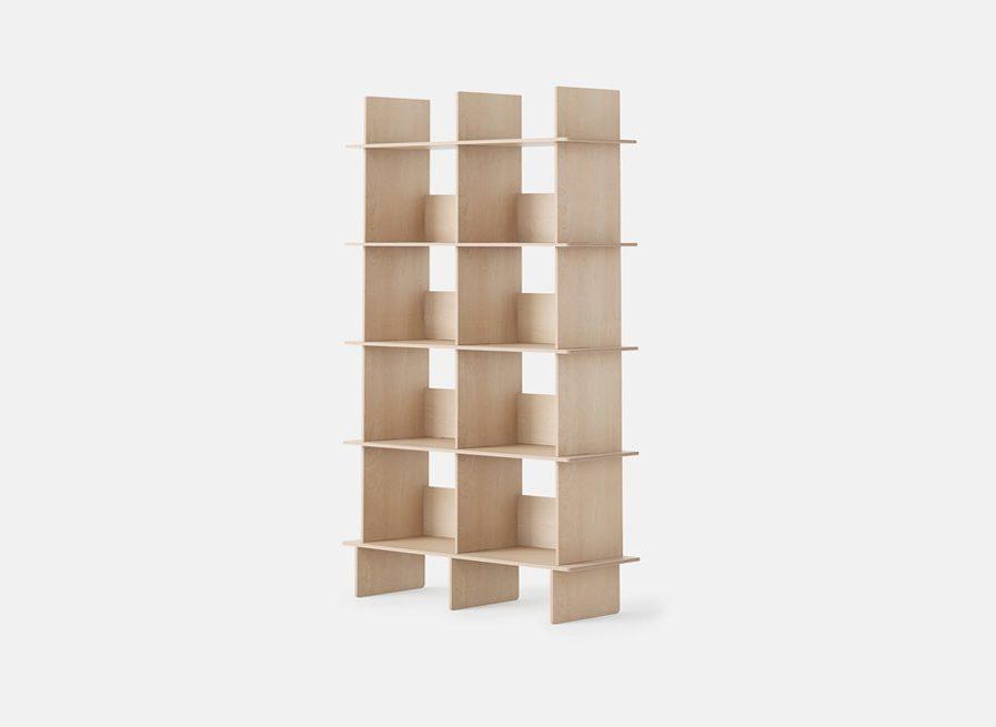 Opendesk Linnea bookshelf, bibliotheque design en bois profil