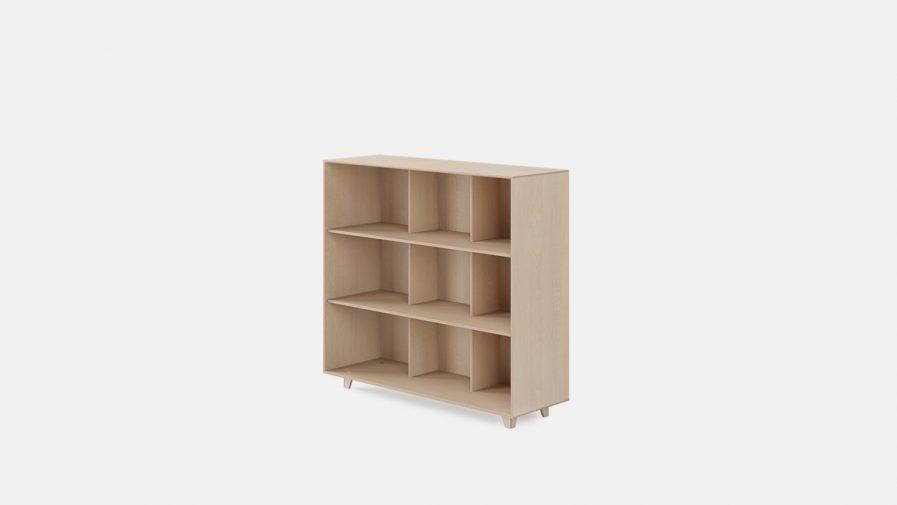 Un meuble de séparation d'espace Opendesk fin bookshelf vue de profil
