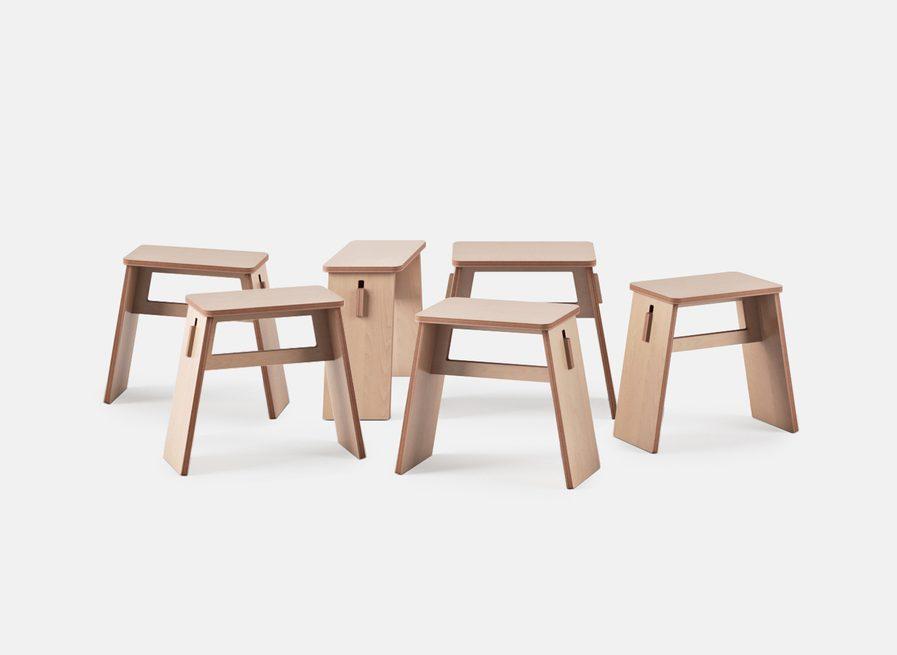 Tabouret design en bois les 6