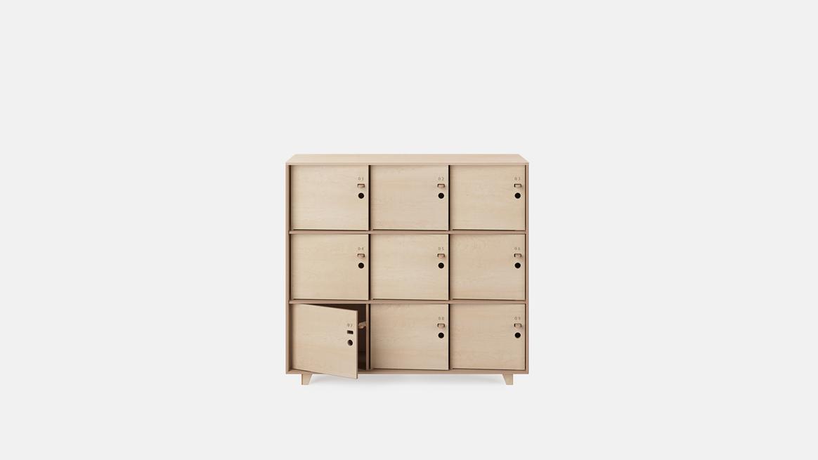 rangement bureau avec porte en bois fin locker opendesk openwood. Black Bedroom Furniture Sets. Home Design Ideas