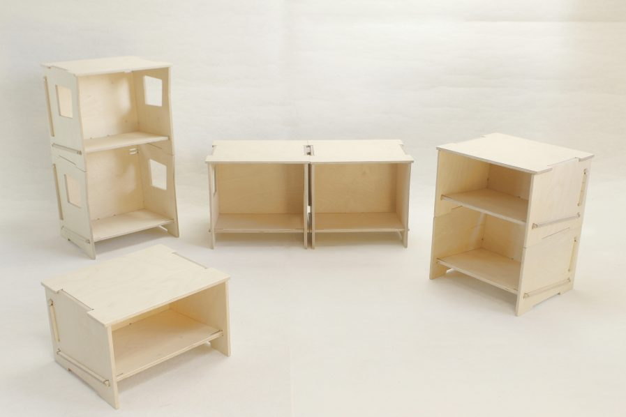 Rangements empilables designs pour réaliser des étagères.