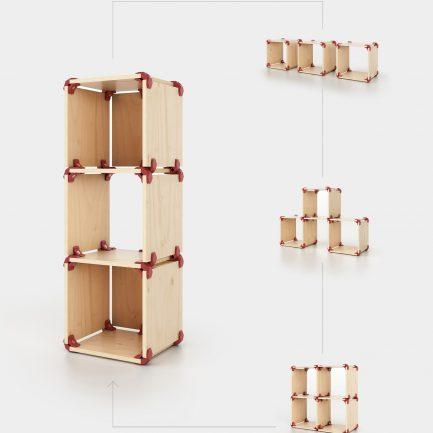 Meuble de rangement carré reconfigurable