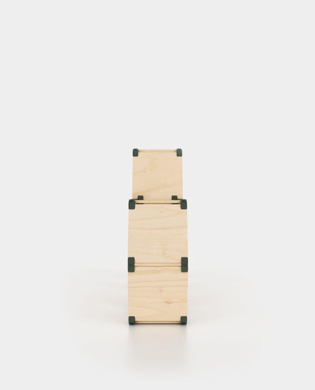 Petite étagère en bois modulable et design. Idéale comme bibliothèque dans le bureau ou comme présentoir facile a transporter lors d'un salon.