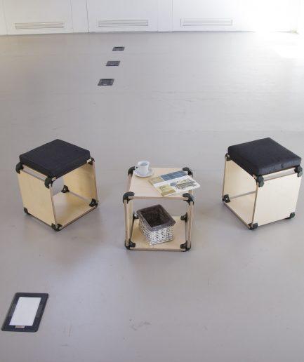 Cube de rangement modulaire en bois design