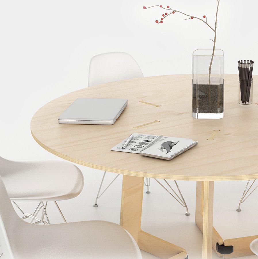 table ronde de réunion ordinateur