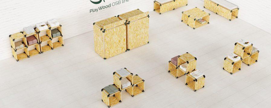 Cubes de rangement modulaires en OSB situation