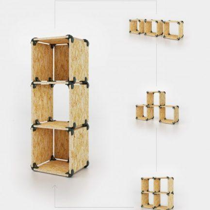 Cubes de rangement modulaires en OSB