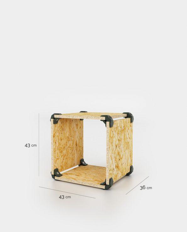 Cube pouf en OSB dimensions