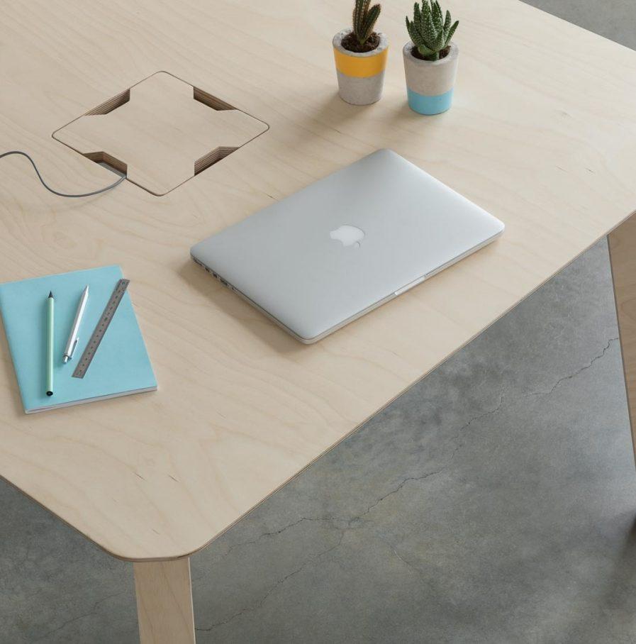 Table de réunion carré Hot Desk dessue